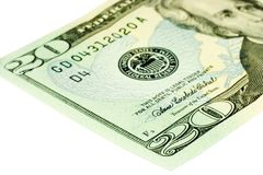 Twenty Dollar Bill. Close-up of 20 Dollar bill isolated on a white background stock images