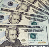 Twenty Dollar Bill Composition. New Colored Twenty Dollar Bills royalty free stock image