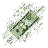 A twenty dollar bill typographic design Stock Photos