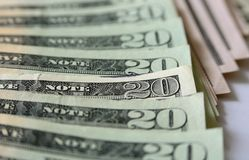 Twenty dollar bills Stock Images