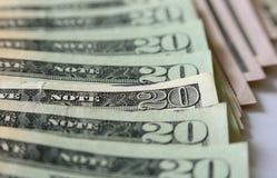 Twenty dollar bills. In focus Stock Images