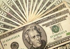 Twenty dollar bills. Macro image of a fan like display of twenty dollar bills Stock Image