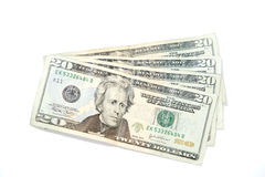 Twenty Dollar Bills. Four twenty dollar bills fanned out in the studio Stock Photography