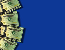 Twenty Dollar Bills. Illustration American twenty dollar bills against a blue background. Room for copy vector illustration