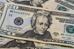 Twenty Dollar Bills for Abstract Background II Royalty Free Stock Photography