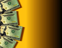 Twenty dollar bills background. Vector illustration of twenty dollar bills on yellow (golden) background with space for text stock illustration