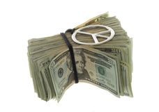 Twenty Dollar Bills Banded with Peace Necklace Stock Image