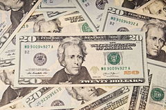 Twenty dollar bills Stock Photography