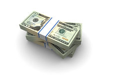 Twenty Dollar bills stack. Illustration on white background Royalty Free Stock Photography