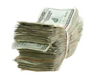 Twenty Dollar Bills Stacked and Banded Together Stock Photography