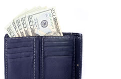 Twenty Dollar US Bills in a Wallet Royalty Free Stock Image