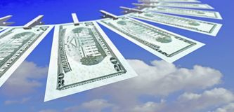 Twenty Dollars. Fly on the air (conceptual Royalty Free Stock Images