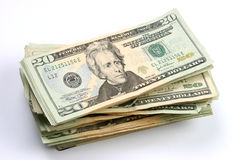 Twenty dollars bills stacked Stock Photography