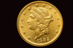 Twenty dollars gold coin from 1882 Stock Photo