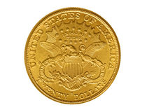 Twenty dollars gold coin from 1882 Stock Photos