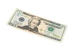 Twenty dollars isolated on white background Royalty Free Stock Photography