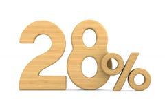 Twenty eight percent on white background. Isolated 3D illustrati. On Stock Illustration