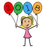 Twenty Eighteen Balloons Represents New Year And Kids Stock Image