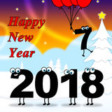 Twenty Eighteen Indicates 2018 New Year And Celebrating Stock Photo