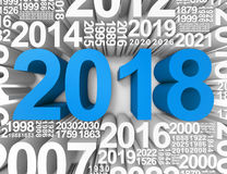 Twenty Eighteen Means 2018 New Year And Celebrates 3d Rendering. Twenty Eighteen Representing 2018 New Year And Celebrations 3d Rendering Royalty Free Stock Image