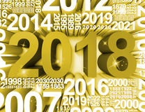 Twenty Eighteen Represents 2018 Year And Celebrates 3d Rendering Stock Image