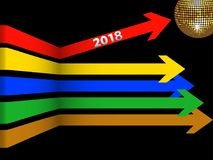 Twenty Eighteenth Coloured arrows and disco ball. 3D Illustration of Multicoloured Arrows with 2018 New Years Date and Golden Disco Ball Over Black Background Royalty Free Stock Photos