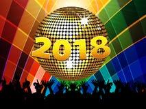Twenty Eighteenth 2018 disco ball and crowd on multicoloured bac. New years Twenty Eighteenth Celebration Multicoloured Background with Disco Ball Crowd and 2018 Stock Photography