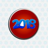 Twenty Eighteenth New Years decorated date border. Twenty Eighteenth New Years decorated date  with Abstract Christmas Tree Metallic Red Border Over White Royalty Free Stock Image