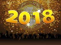 Twenty Eighteenth New Years celebration background. Twenty Eighteenth New Years in Golden Numbers Over Disco Ball on Golden Tiles Wall with Crowd Royalty Free Stock Photos
