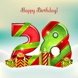 Twenty Eighth Happy Birthday. With candles and gifts. Vector illustration Royalty Free Stock Photos