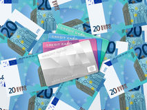Twenty euro background and credit card Stock Photo