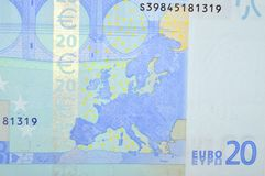 Twenty euro banknote back side with europe map Royalty Free Stock Photography