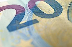 Twenty euro banknote detail. Macro Royalty Free Stock Photography