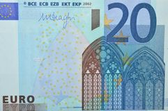Twenty euro banknote front. Front view of the detail of the 20 euro banknote Stock Photography