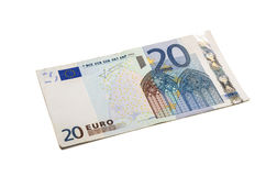 Twenty euro banknote isolated. Royalty Free Stock Photo