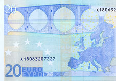 Twenty euro banknote macro fragment, back side. High resolution photo Royalty Free Stock Images