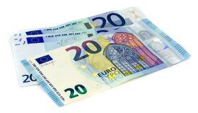 Twenty Euro banknote on white background. Royalty Free Stock Images