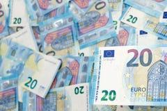 Twenty euro banknotes. A blue carpet full by a twenty euros banknotes Stock Images