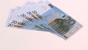 Twenty euro banknotes falling in super slow motion stock video footage