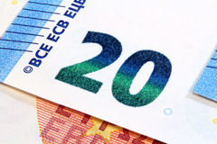 Twenty euro banknotes new design. New design euro banknote, 20 euro detail Royalty Free Stock Image