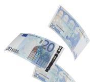 Twenty euro bills collage isolated on white Royalty Free Stock Image