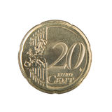 Twenty Euro Cent Coin. Close-up of an uncirculated twenty Euro cent coin Stock Image