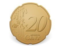 Twenty euro cent coin. On a white background Stock Images