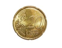 The twenty euro cent. From greece on isolated white background Stock Photo