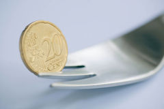 Twenty euro cents, as a symbol of the crisis Stock Images