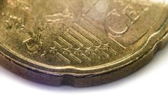 Twenty Euro Cents Coin, Extreme Macro Shot, Focused on the stars Stock Photos