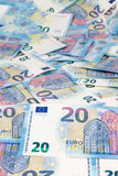 Twenty Euro. A full carpet of twenty euro banknotes Royalty Free Stock Photography