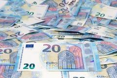 Twenty Euro. A full carpet of twenty euro banknotes Stock Photos
