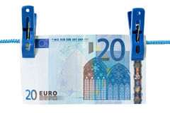 Twenty euro  hung on a washing line Stock Photography