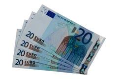 Twenty euro notes. Four twenty euro notes on white background Stock Image